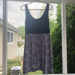 black and white fit to flare sundress